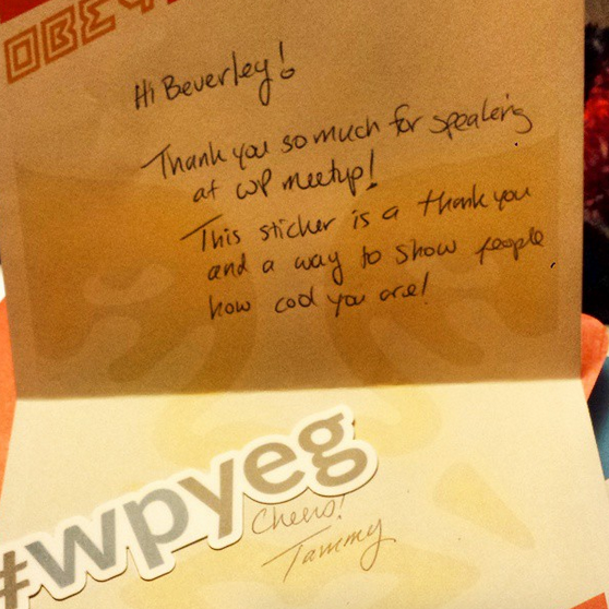 thank you card for presenting at #wpyeg
