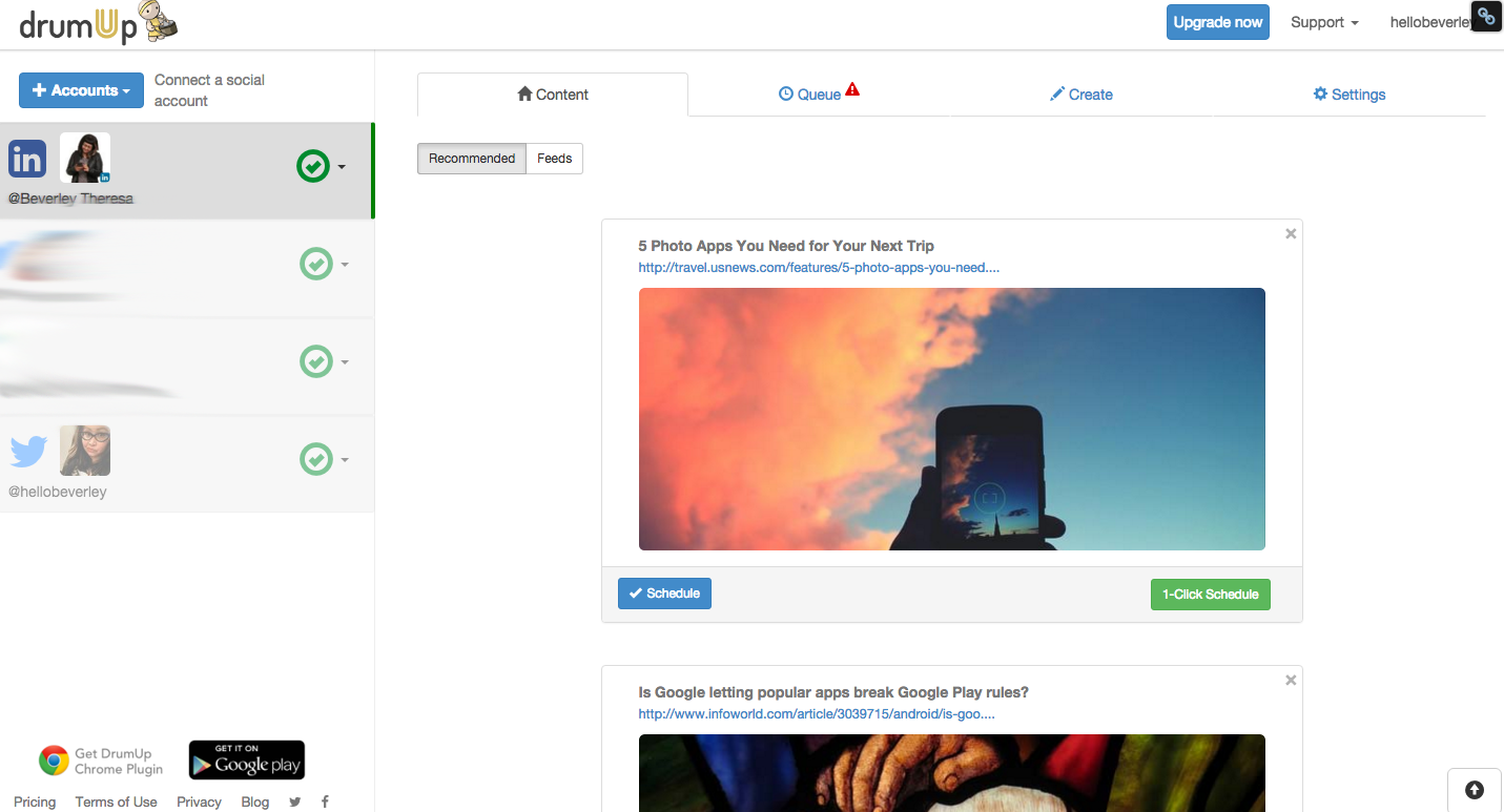 screenshot of drumup social media dashboard