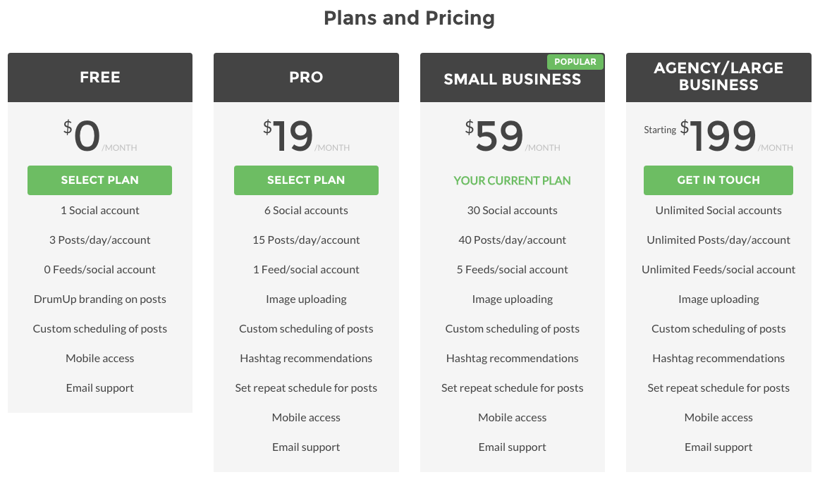 screenshot of drumup plans and pricing