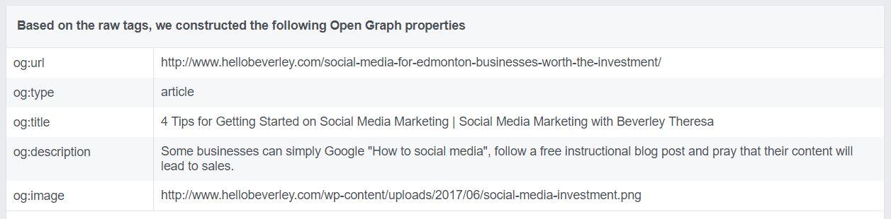 facebook open graph information